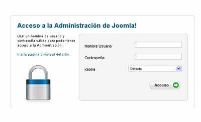 Pantalla de acceso al administrador joomla1.6