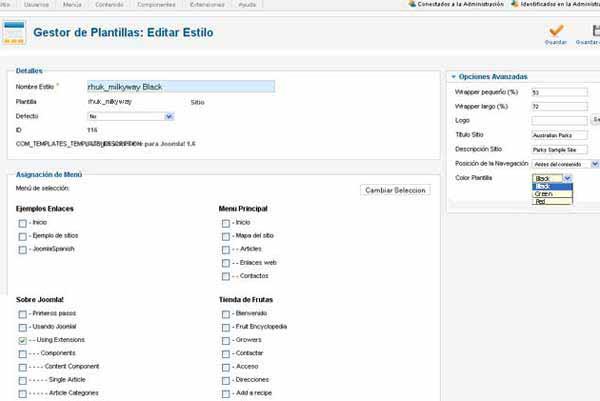 Edición de Estilos. Joomla 1.6